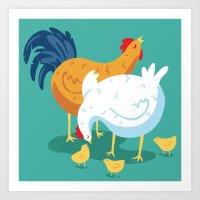 Chicken Family Art Print