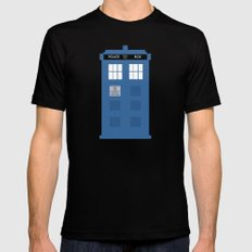TARDIS Under the Sea - Doctor Who Digital Watercolor SMALL Mens Fitted Tee Black