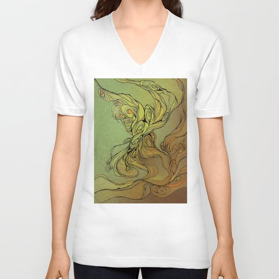 abstract floral composition V-neck T-shirt