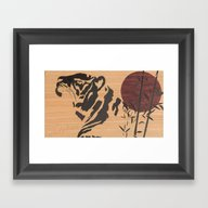 Japanese Tiger Marquetry Framed Art Print