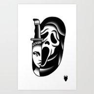 Art Print featuring Halloween Scream Tattoo … by DerickJames
