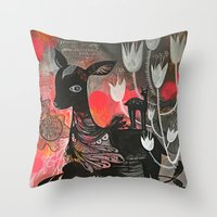 Killer Tulips Throw Pillow