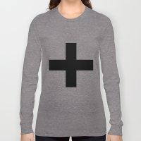 Black Plus on White /// www.pencilmeinstationery.com Long Sleeve T-shirt