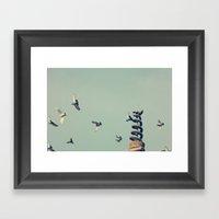 Flying Pigeons And Snake… Framed Art Print