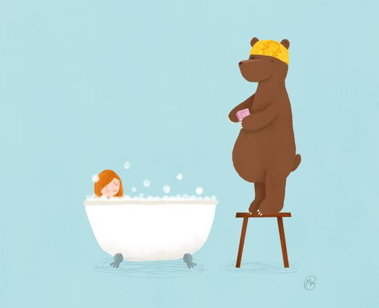 Bear and girl: bathing Art Print