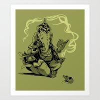 nerdy ganesha Art Print