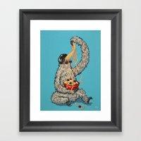Three Toed Sloth Eating … Framed Art Print