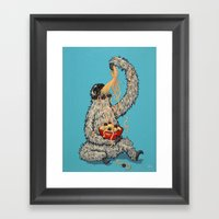 Three Toed Sloth Eating … Framed Art Print