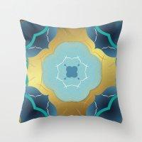 Vintage Tiles: Yellow Throw Pillow
