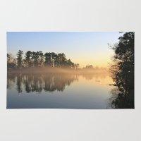 Misty Lake In Color Rug