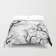 Duvet Cover featuring Black And White Tree Top… by Belkat