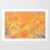 Sunflowers Summer Botanical Art Print