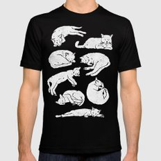 Sleeping Cats SMALL Mens Fitted Tee Black