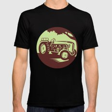 Vintage Farm Tractor Circle Woodcut Black Mens Fitted Tee SMALL