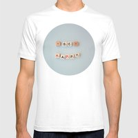 Be Happy Mens Fitted Tee White SMALL