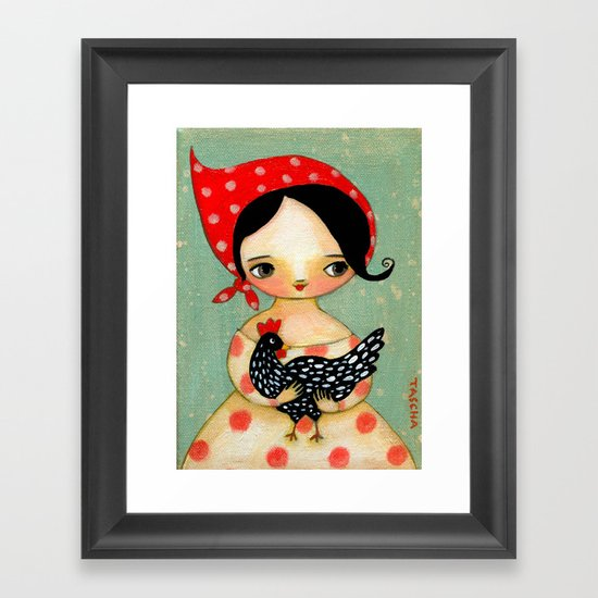 Babusha Girl With Speckled Chicken Framed Art Print By