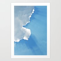 Sun Rays Behind Clouds Art Print