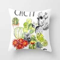 C is for Cacti Throw Pillow