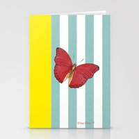 Coral butterfly Stationery Cards