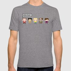 The Big Bang Theory Pixel Characters Mens Fitted Tee Tri-Grey SMALL