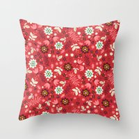 Fresh Blossoms (Reds) Throw Pillow
