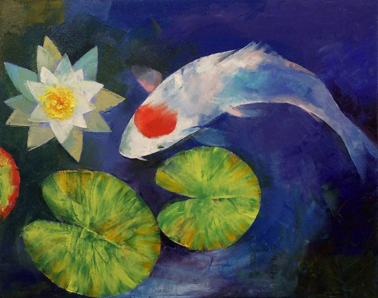 Tancho Koi and Water Lily Art Print