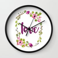 Floral Wreath Watercolor - Love - by Sarah Jane Design Wall Clock