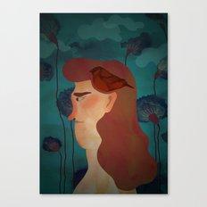 lady with bird Canvas Print