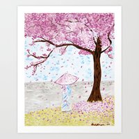 Cherry Tree Geisha Art Print