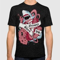 Shark Vs Octopus Mens Fitted Tee Tri-Black SMALL