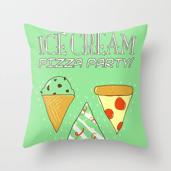 Ice Cream Pizza Party Throw Pillow