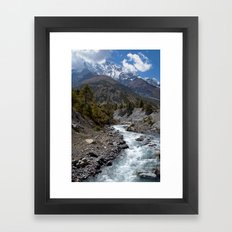 River and Mountains en route to Manang Framed Art Print