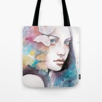 Lady with a butterfly Tote Bag