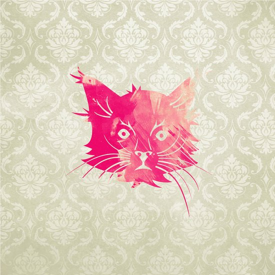 Pink Watercolor Cat Vector Vintage Floral Damask Canvas Print