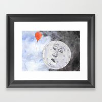 Moon And The Balloon Framed Art Print