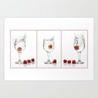 Strawberry Splashes Art Print