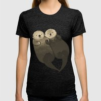 Significant Otters - Otters Holding Hands Womens Fitted Tee Tri-Black SMALL