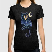 Ouija Cat Womens Fitted Tee Tri-Black SMALL