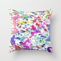 Paint Splatter 1 - White Throw Pillow