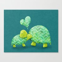 Canvas Print featuring Turtle Hugs by Elephant Trunk Studio