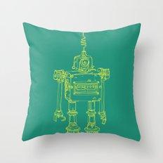 Yellow Robot Throw Pillow