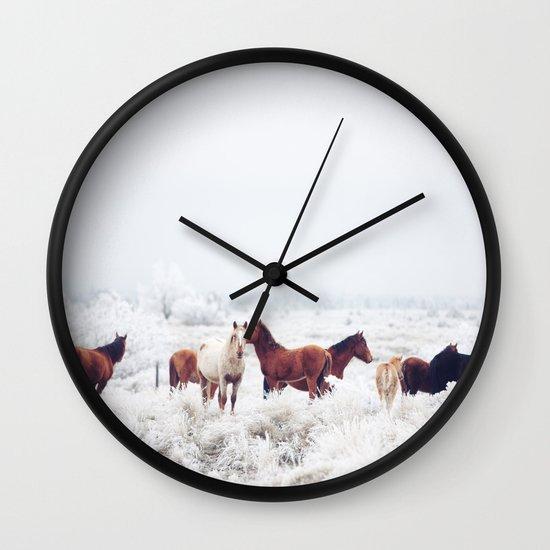 Winter Horseland Wall Clock