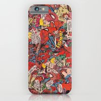 iPhone Cases featuring Spiderman comic book collage by vanityfacade