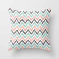 Mint Gray Coral Zigzag Pattern Throw Pillow