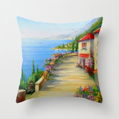 The Town By The Sea Throw Pillow