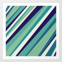 Blue Diagonal : Pattern Art Print