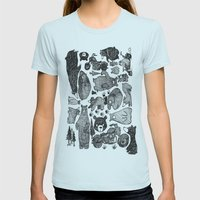 Bear and motorcycles Womens Fitted Tee Light Blue SMALL