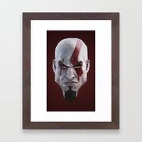 Triangles Video Games Heroes - Kratos Framed Art Print