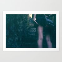 walking up the stairs. Art Print