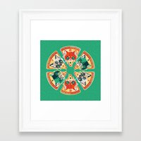 Pizza Slice Cats  Framed Art Print